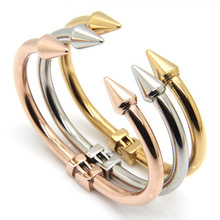 Gold color Rivet nail bracelets for women and men's bracelet pulseiras braceletes, stainless steel bangles jewelry accessories(China)