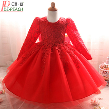 2017 Winter Baby Girl Lace Dress Long Sleeve Baby Baptism Dresses 1 Year Birthday Christening Gown Infant Vestidos Baby Dress(China)