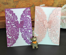 DIY Butterfly Colored Laser Cut Lace Effect Wedding Invitation Card Pack/10