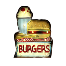 Burgers Hamburg LED Neon Light Sign Board Cafe Fast Food Cake HAM Pizza Decor Retro Metal Wall Ornaments Illuminated Signs YN100(China)