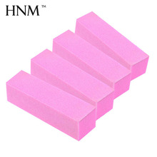 HNM 4pcs/lot Pink Nail Buffer Pedicure Manicure Care Buffer Nail Art Tool Sanding Block Makeup Beauty Nail Buffer File 4-way(China)