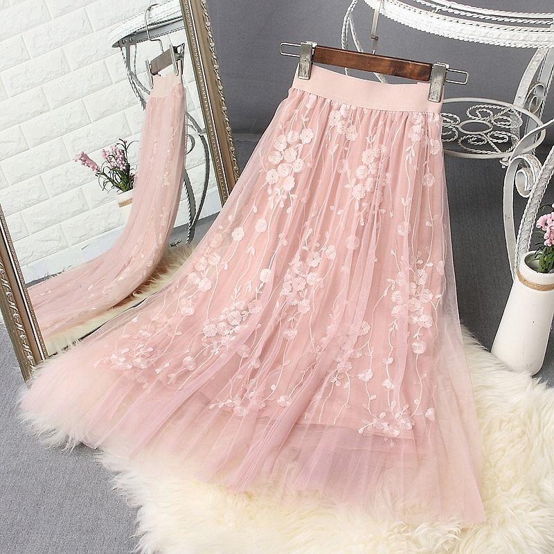 Spring Women Mesh Skirts Female  Lace Tutu Pleated Skirts Saia Vintage  Womens Jupe Longue faldas