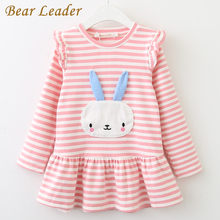 Bear Leader Girls Dress 2017 New Autumn Brand Girls Clothes Long Sleeve Cute Rabbit Lace Strip Design Girls Children Clothing