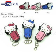 new style Hello Kitty Pen drive red/pink/blue cat usb flash drive memory stick storage device 4g/8g/16g/32g girl gift(China)