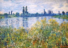 Flowers on the Banks of Seine near Vetheuil High quality Claude Monet Canvas Art Reproduction Impressionist Painting Handpainted