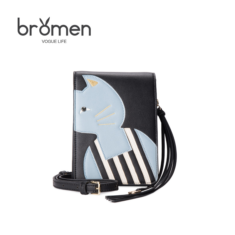 Bromen Summer New Pu Leather Women Handbags 2017 Fashion Mini Shoulder Crossbody Bag Ladies Chain Woven Brand Design Cat Bag Hot<br>