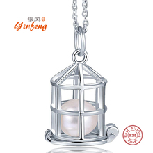 [Yinfeng] High quality real pearl jewelry Hot selling 925 silver cage pendant necklace 45cm chain with gift box 4 colors