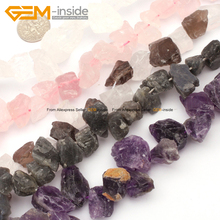 Gem-inside Top Drilled Beads Freeform Original Quartz Beads For Jewelry Making Bracelet Necklace 8-18mm 15inches DIY(China)