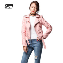 Fitaylor 2017 Spring Autumn Women Faux Soft Leather Jacket Long Sleeve Pink Biker Coat Zipper Design Motorcycle PU Red Jacket(China)