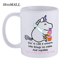 Hoomall 'You are like a unicorn' Pattern Ceramic Coffee Mug Cute Cartoon Unicorn Tea Water Cup Lovers Friends Christmas Gifts(China)
