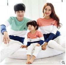 New 2015 family matching outfits mother and daughter clothes children's long sleeve t-shirt cotton family clothing girl boys top