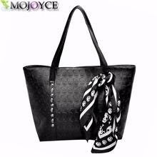 AC 2017 Hot PU Leather Women Skull Bag Female Solid Punk Shoulder Bag Fashion Soft Women Handbags Black Large Ladies Tote Bag(China)