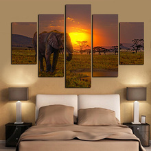 5Panel Canvas Art African Elephant Under Sunset Landscape Painting Modern Modular Wall Picture for Living Room Sofa Cuadros(China)