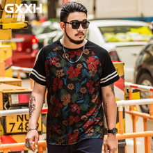 GXXH Good Quality T Shirt Men Size 2XL-7XL Homme Tee Plus Size 6XL 7XL Men's Summer Outside Grid Tshirt Flower Leaves Printing