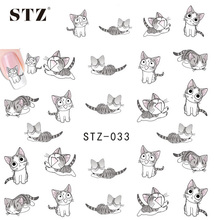1sheets Nail Art Water Transfer Stickers Decals Cute Lovely Cat DIY 3d Designs Decorations for nails tips Manicure Tools STZ033