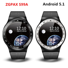 (In Stock) ZGPAX S99a 3G Smart Watch Android 5.1 2.0MP Cam GPS WiFi Pedometer Heart Rate 3G Smartwatch PK KW88 No.1 D5 X3 Plus(China)