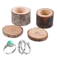 2pcs Mr&Mrs Wood Ring Box for Wedding Valentines Anniversary Creative Wooden Box for Storage Ring Gift(China)