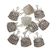 30 pcs/lots 1.5x2.1cm Tibetan Silver Plated Happy Birthday Cake Charms Pendant Fit DIY Making Jewelry Necklace Bracelet
