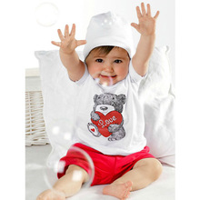Newest Baby Kids T-shirt Girls Short Sleeve Top+Pants Heart Bear Outfit 2 pcs Clothing