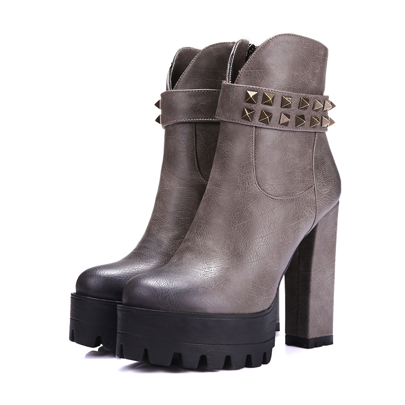 Chinese street style comfortable round toe ankle boots fashion zipper rivet platform high heel womens riding boots<br>