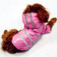 100% Waterproof Dog Raincoat Reflective Strip Pet Dog Clothes Raincoat Glisten For Small Medium Puppy Dog Raincoat Hooded 4Color(China)