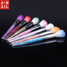 1pcs 7 Colors Nail Art Glitter Brush Dust Clean Acrylic UV Gel Powder Remover Rhinestone Handle Nylon Makeup Foundation Manicure