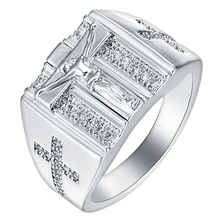 Fashion silver plated Rings Jesus Cross carved for Men Anillos White Cubic Zirconia Wedding Finger Ring Fine Jewelry Bague New(China)