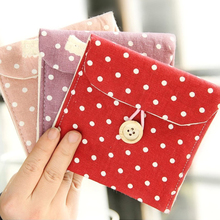 2016 Hot-sale Female Hygiene Sanitary Napkins Package Small Cotton Storage Bag Purse Case Polka dot organizer storage cute bag(China)