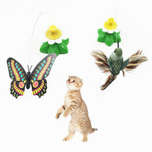 Pet Cat Toys Electric Rotating Butterfly Bird Rod Wire Scratch Toy for Cat Kitten Training Funny Cat Products Drop Shipping