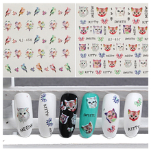 Nail Art Water Decals Transfer Stickers Cute Animal Cute Kitty Cat Birds Pattern Woman Kids Nail Stickers Wholesale QJ-457-458