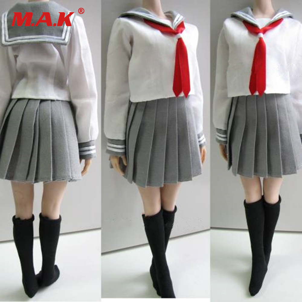 Custom 1/6 Female Clothes Students School Uniform &amp; Socks Set  3 Colors for 12 inches PH,HT,Kumik Body Figures<br>