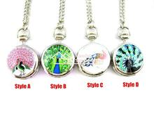 Hot selling trumpet Peacock Series enamel peacock pocket watch Necklace Fashion confession steel pocket watch necklace
