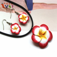 AMGJ Wholesale Lots 2Sets Polymer Clay Flower Necklace Earrings Pendant Plumeria Hawaii Jewelry Sets Leather Chain