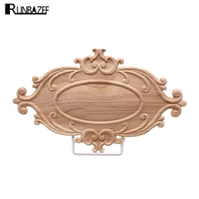 RUNBAZEF Solid Wood Furniture Decorative Accessories New Flower Carved Door Vintage Home Decor Figurines Miniatures Ornaments(China)