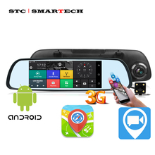 SMARTECH Android 3G Зеркало заднего вида DVR gps навигации, 6,86 дюймов ips HD экран 1080P full HD двойной Камера FM 3G Wi-Fi Bluetooth(China)