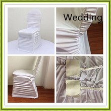 White spandex chair cover ruffled wedding chair cover cheap for sale free shipping(China)