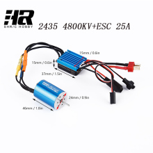 Free shipping RC car 1/16 2435 4800KV 4poles sensorless brushless motor+25A brushless ESC speed controller(China)