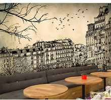 Europe Architecture Sketch City Landscape Building Wallpaper Mural Rolls for Wall Covering Living Room Bedroom Cafe Shop Decor(China)