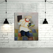 New Handpainted Free shipping Oil Paintings on Canvas Art Pictures High Quality Lovely Fat Cook Wall Stickers for Home Decor(China)