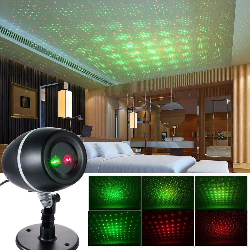 Star Sky Laser Projector Lights Red+Green Moving Spotlights Outdoor Holiday Christmas Party Decorations Patio Stage Effect Light<br>