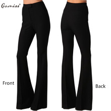 Gamiss Cotton Black slim trousers Button High waist woman Ultra-wide-leg Flare pants thin feminine pants office work wear pants