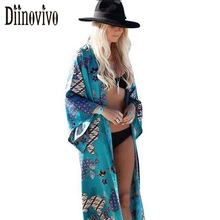 Buy European sexy long chiffon blouse kimono cardigan 2017 summer beach cover casual loose shirts women print blouses clothes D68 for $14.68 in AliExpress store