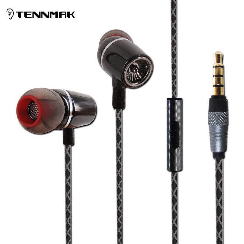 Tennmak Metal In Ear Earphones Earbud Microphone for xiaomi  yi phone mp3 earphone accessories for watch lemfo handfree 3.5 jack<br><br>Aliexpress