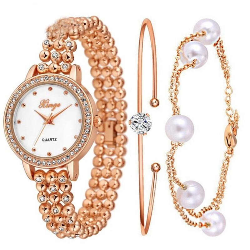 Women Luxury Gemstone Crystal Jewelry Pearls Bracelet Watch Women Dress Clock Ladies Casual Quartz Wristwatch  S0383<br>