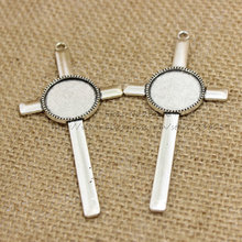 (10pcs/lot) Antique silver Metal Alloy cross 40*84mm (Fit 20mm Dia) Round Cabochon Settings Jewelry Pendant Blanks Charms T0257(China)