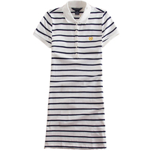 2017 Embroidery Striped Polo Print Casual T Shirt Dress Summer Robe Women Clothes Vestidos Sporty Dresses D76901Y