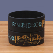 Panic at the Disco Bands 1inch Wide Size Silicone Wristbands Black Rubber Music Fans Bracelets