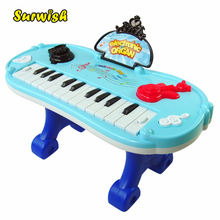 Surwish Multifunction Electronic Organ Music Keyboard Piano with Flash Light & Stander Kid Children Educational Toy-Color Random(China)