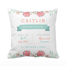 Customized Floral Garden Baby Girl Birth Stats Throw Pillow Cover Home Decorative Cushion Covers for Sofa Square Pillow Case