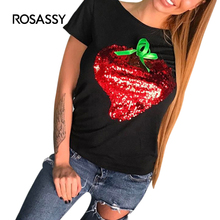ROSASSY Sequined Strawberry Womens T Shirts Embroidered Short Sleeves Camisetas Female All Match Cute Summer Causal Tee Shirts
